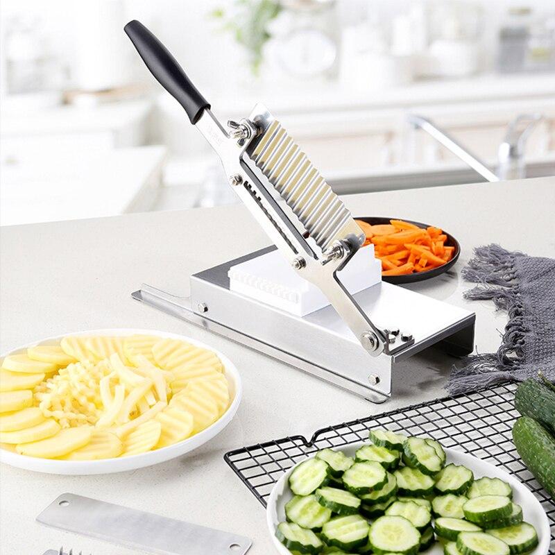 جديد صلب الذى لا يصدأ يدوي قطاعة مموج قطاعة خيار فجل قطّاعة بطاطس منزل تجاريّ قطع آلة