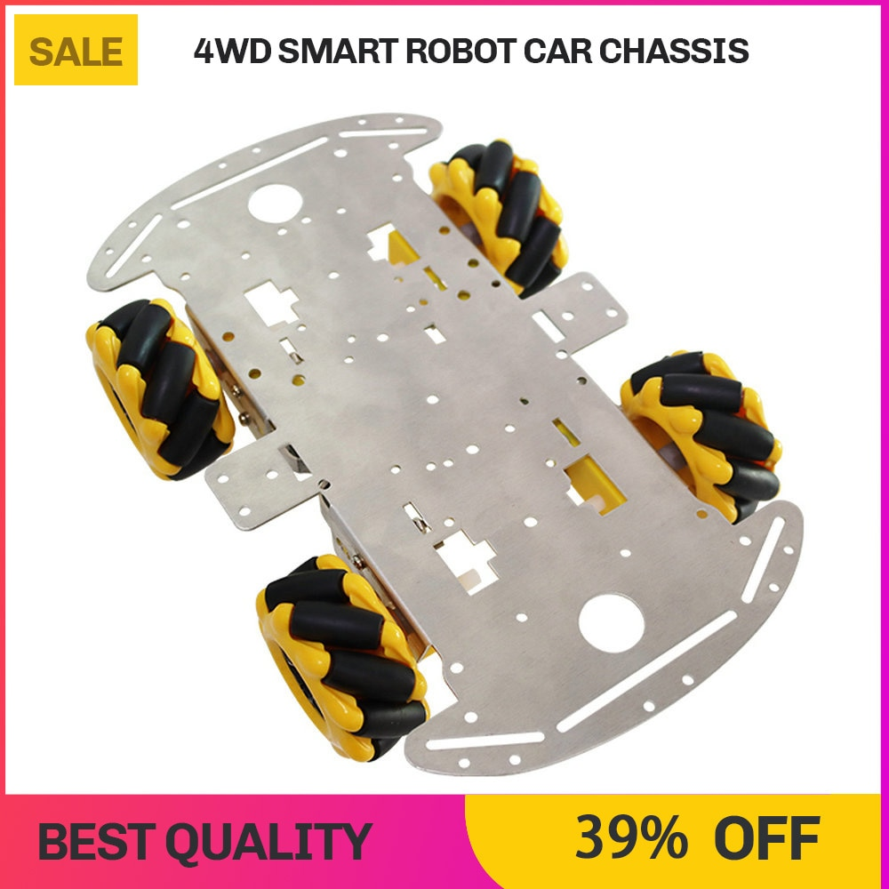 DIY Smart Robot Car Chassis 4WD Mecanum Omni Directional Wheel Aluminum car Chassis For Arduino