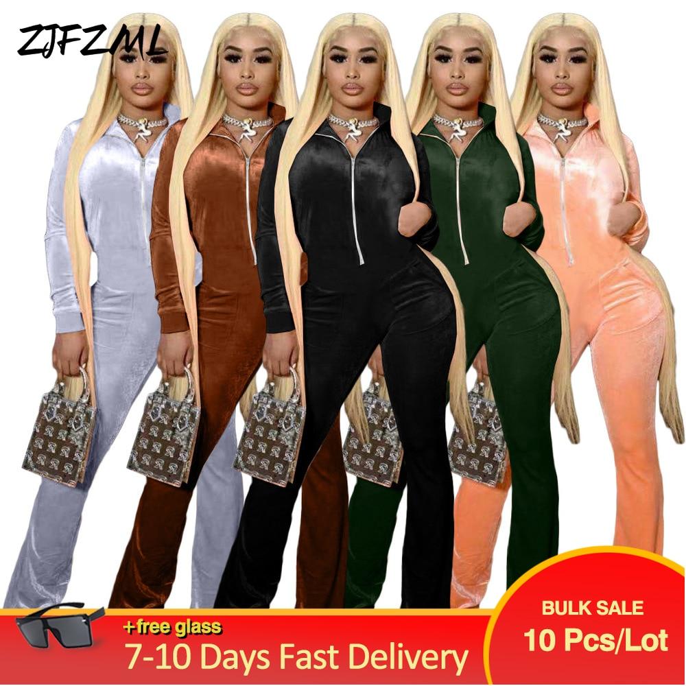 Bulk Items Wholesale Lots Women's Velvet Jumpsuit Autumn Winter Clothing Zipper Up Long Sleeve Bell Bottom Romper Overall New