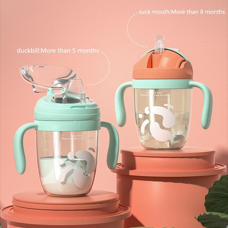 Новая силиконовая соломенная чашка, детская чашка для воды, Детская обучающая чашка, Детская Нескользящая чашка для молока для пищевого кла...