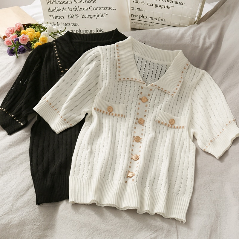 Hong Kong Style Polo Collar Single-Breasted Golden Dotted Slim Top Women's New Vertical Stripes Slim