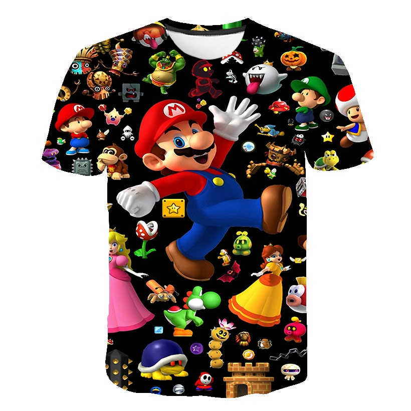 2020 Summer New style 3D T Shirt Boy and Girl Cartoon Super Mario 3D print T-shirt funny casual Gamer o neck 3d Tshirt Tops