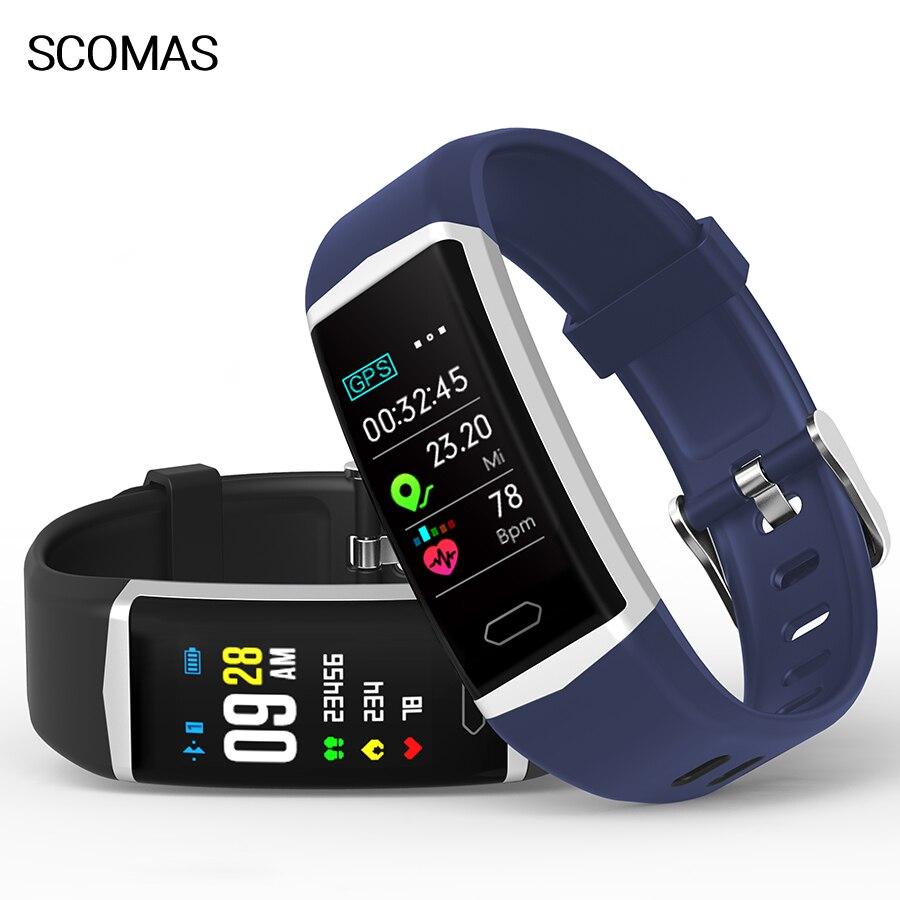 Scomas inteligente b5 pulseira banda com gps monitor de freqüência cardíaca ecg pressão arterial ip68 fitness rastreador wrisatband relógio inteligente