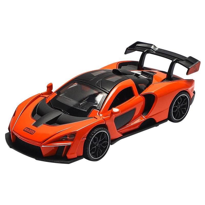 Coche en miniatura de aleación 132 con sonido y luz para niños, coche de carreras, vehículo de juguete de acero fundido, coche deportivo de simulación mclarens-senna