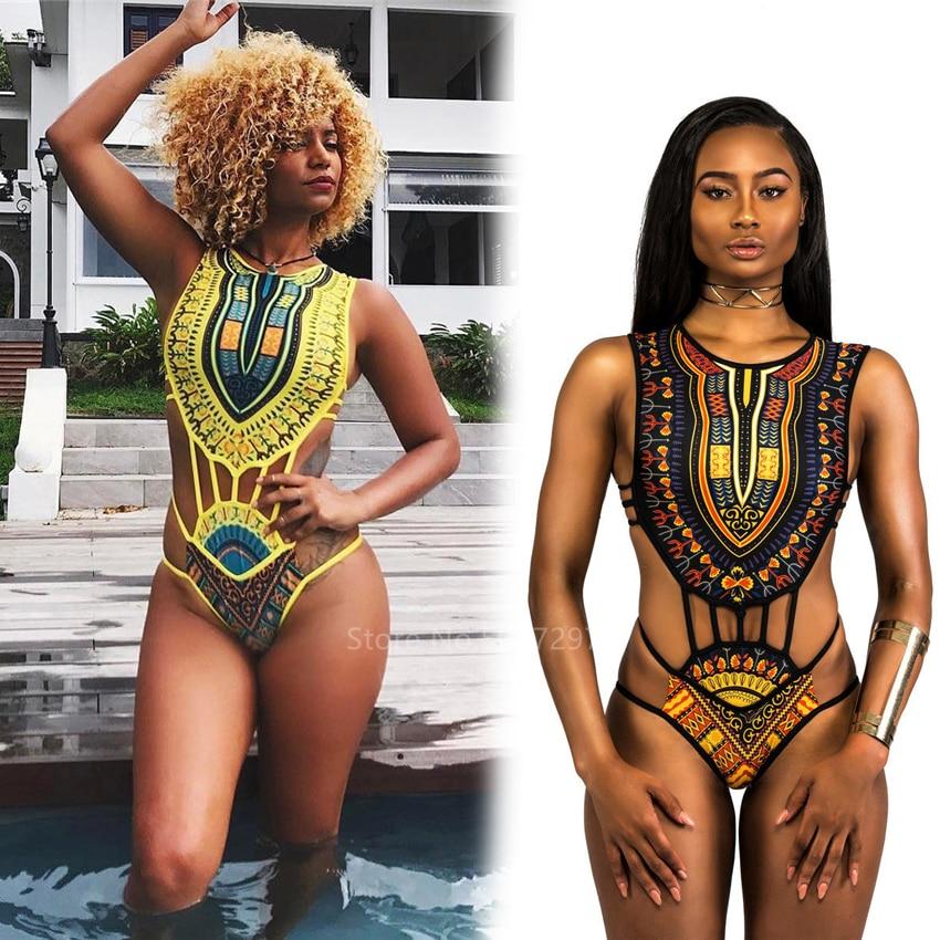 2020 Maxi verano africano Dashiki con estampado vestido Bikini étnico vendaje traje de baño las mujeres Femme nigeriano mono Sexy Bikini de verano