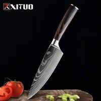 xituo 6 chef knife kitchen knives laser damascus pattern razor sharp japanese santoku knife meat cleaver slicing utility knife