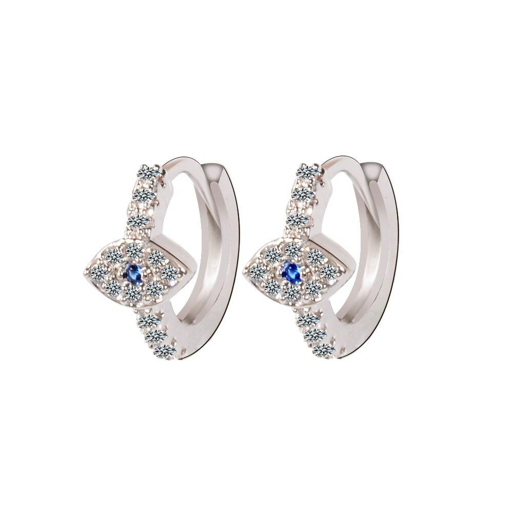 Gran oferta, pendiente circular femenino de ojo malvado Huggie, pendientes de tuerca pequeños de cristal de Color oro rosa y joyas de plata para mujer, pendientes
