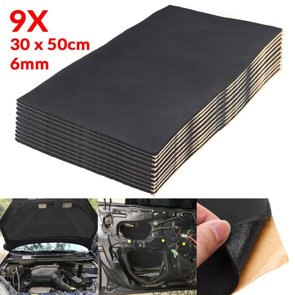 9X 1cm 0.6cm Car Sound Hot Deadener Mat Noise Proof Bonnet Insulation Deadening Engine Firewall Heat