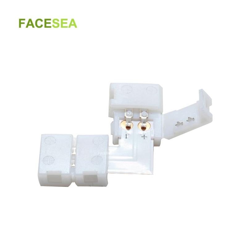 100 jogos/lote 8mm/10mm 2 Pinos L Forma Conectores Sem Solda PCB LED com clips para 12 2pin 3528 V/5050 cor única LED Strip