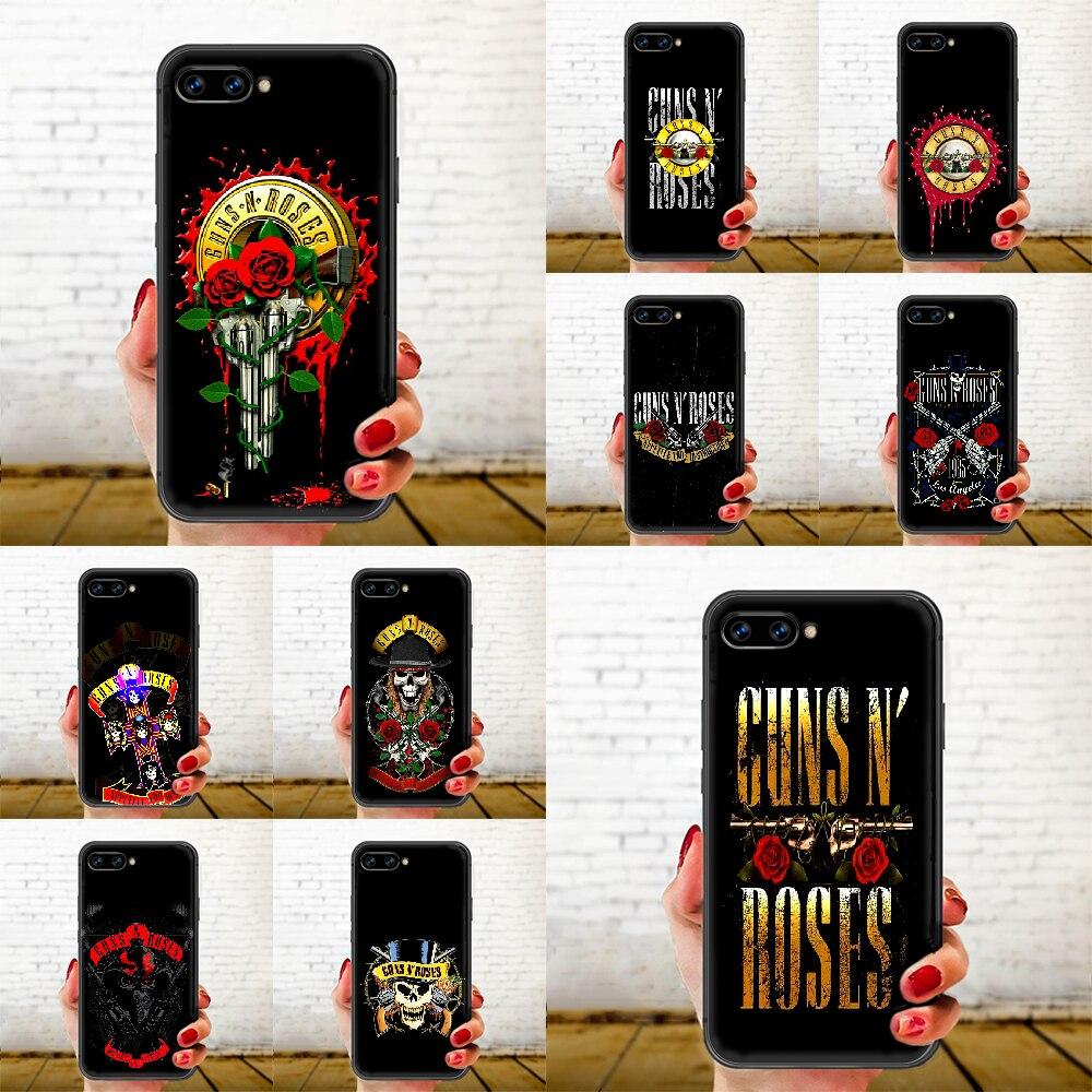 Banda de Rock Guns N Roses de la cubierta de la caja del teléfono del casco para HUAWEI honor 8 8c 8a 8x9 9a 9x V10 MATE 10 20 lite pro negro funda 3D Etui