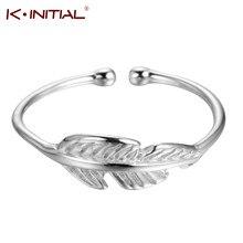 Kinitial Einfachen Blatt Ringe frauen Eternity Hochzeit Band Einstellbar Ringe Für Weibliche Feder Ringe Schmuck Geschenke anillos