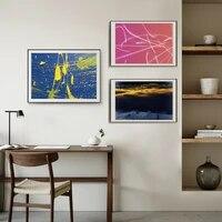 Toile de peinture a lhuile abstraite nordique  coucher de soleil a leau  peinture artistique  salon  couloir  bar  decoration de la maison  peintures murales