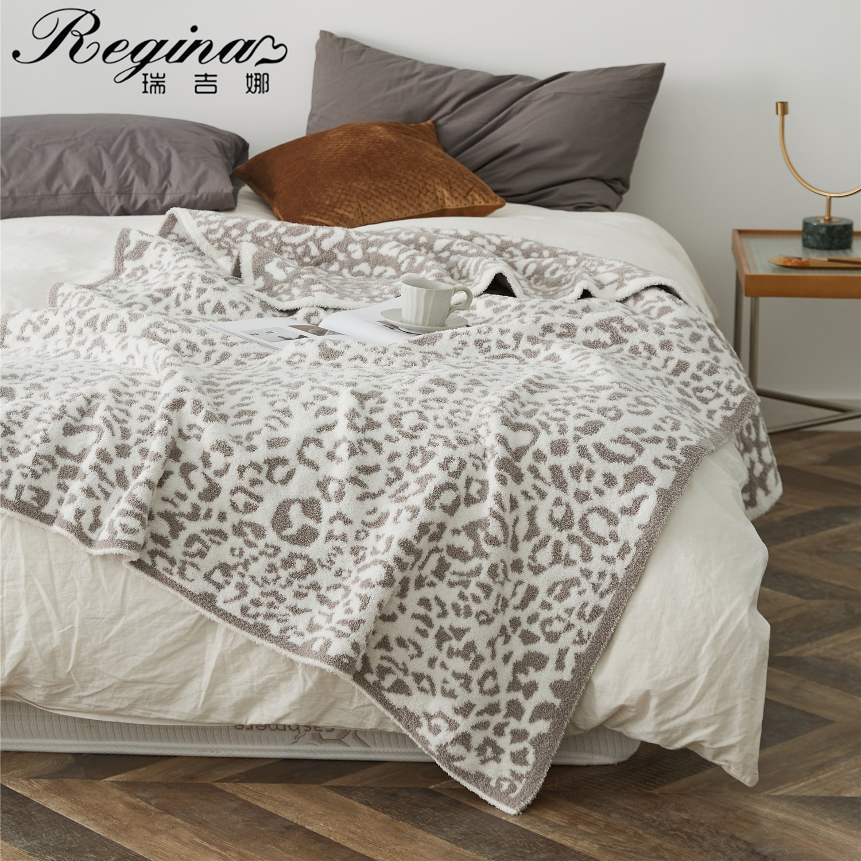 REGINA Delicate Knitted Leopard Print Blankets Winter Warm Faux Fur Microfiber Stich Plaid Bedspread Fluffy Adult Blanket Throw