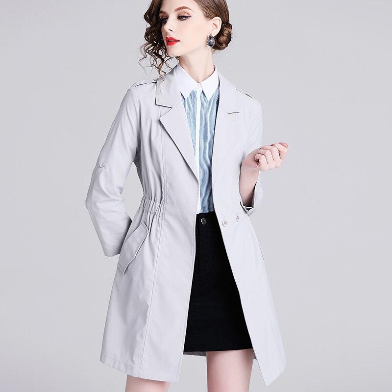 Alixman موضة المرأة معطف رمادي منتصف طول معطف الخصر ضيق ضئيلة خندق معطف مزدوجة الصدر رداء علوي غير رسمي