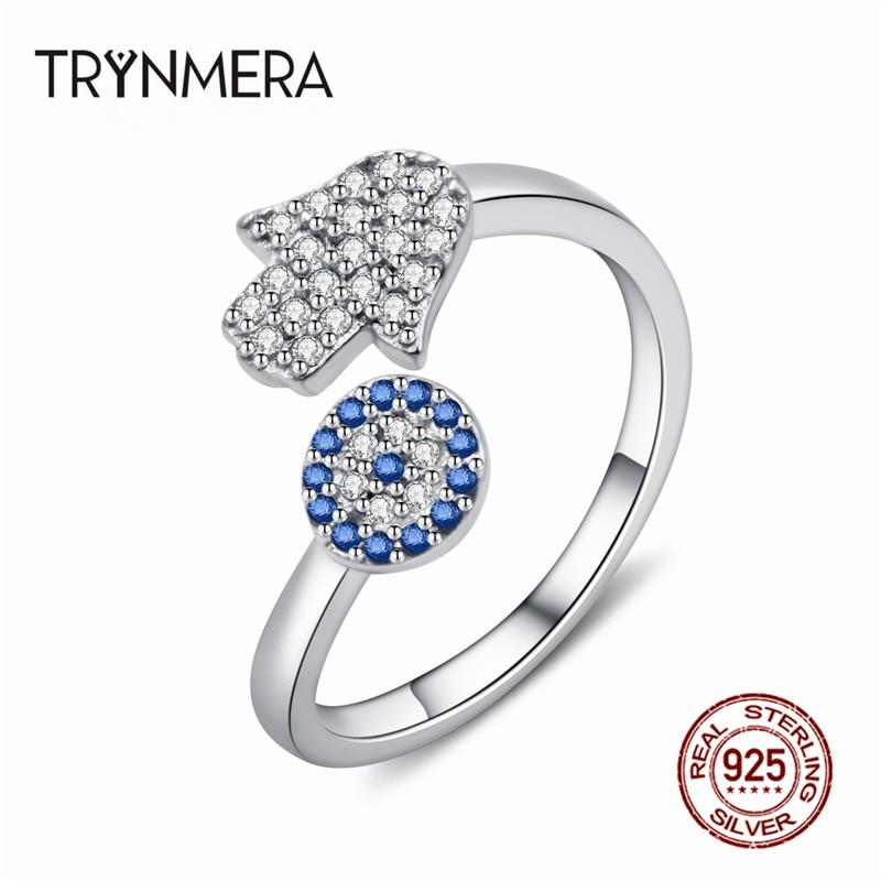 Кольцо из стерлингового серебра 925 пробы с синим глазом и рука гамса, регулируемые женские кольца из Фатима с открытым размером, свадебные украшения