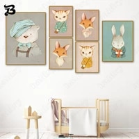 canvas painting for living room cute cartoon animals cat bear rabbit fox wall art posters prints wall art for kids room decor