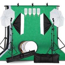Kit déclairage réglable taille Max 2.6M x 3M système de soutien de fond 3 couleurs toile de fond tissu Photo Studio ensembles de boîte souple