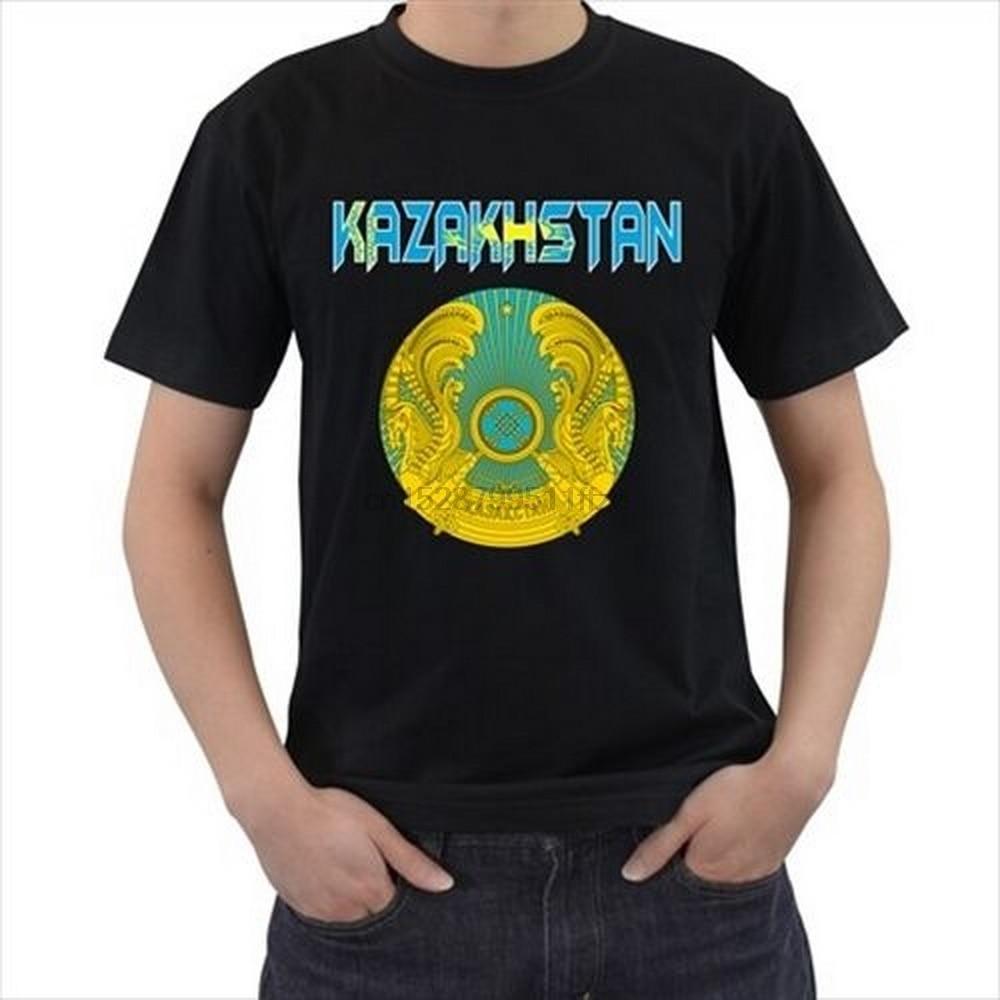 Kazajstán el escudo de armas de Kazajstán bandera País Negro camiseta camisetas Tan Harajuku Tops de moda clásico Tee Shirt