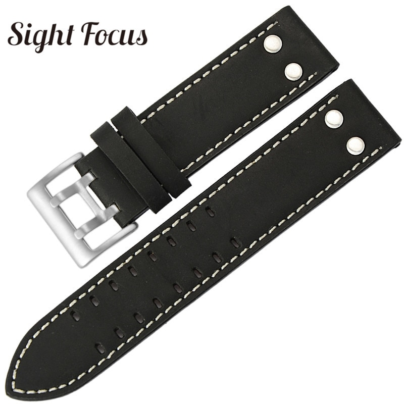 20mm 22mm Calf Leather Strap for Hamilton Classic Jazz Seiko Watch Band Rivet Military Pilot Khaki G