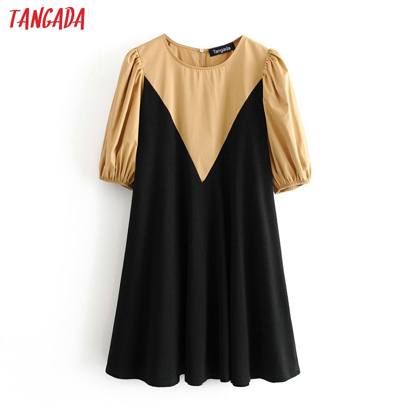 Tangada moda feminina retalhos camisa vestido o pescoço de manga curta das senhoras do vintage vestido curto vestidos 3h247