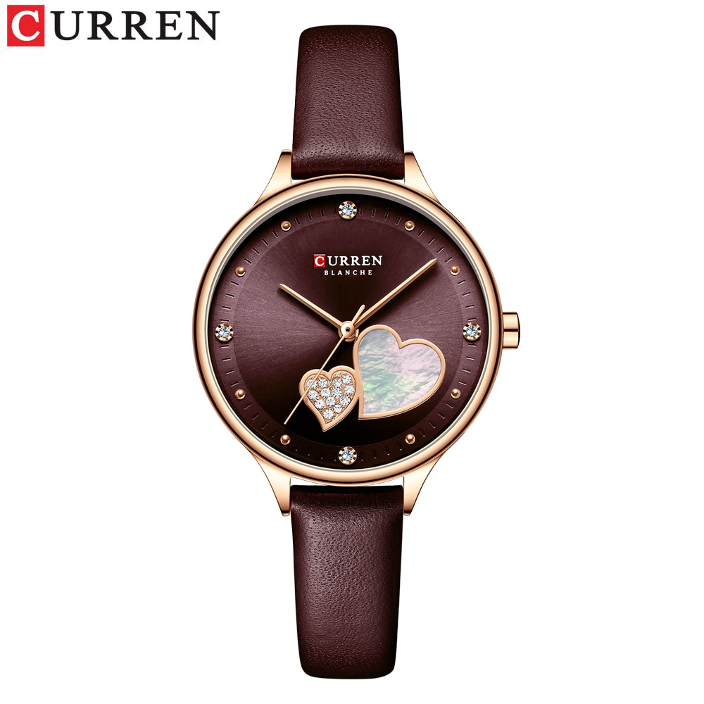 CURREN Women Fashion Coffee Golden Quartz Watch Charming Rhinestone Waterproof Leather Band Wristwatch Luxury Brand Casual Clock enlarge