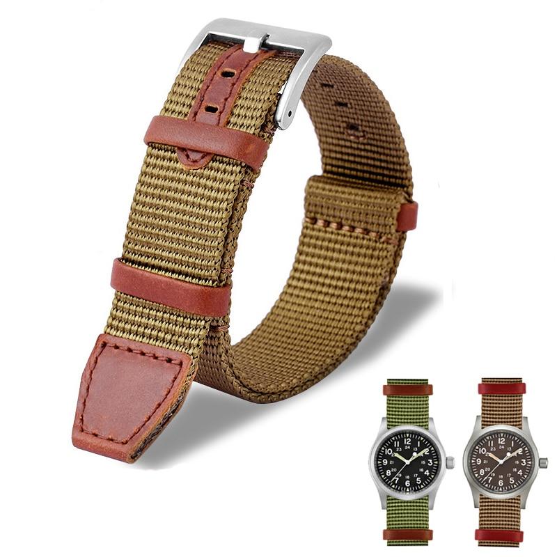 20mm 22mm Woven Nylon +Genuine Leather NATO Strap for Hamilton Khaki Green Field Watch H69439931 441
