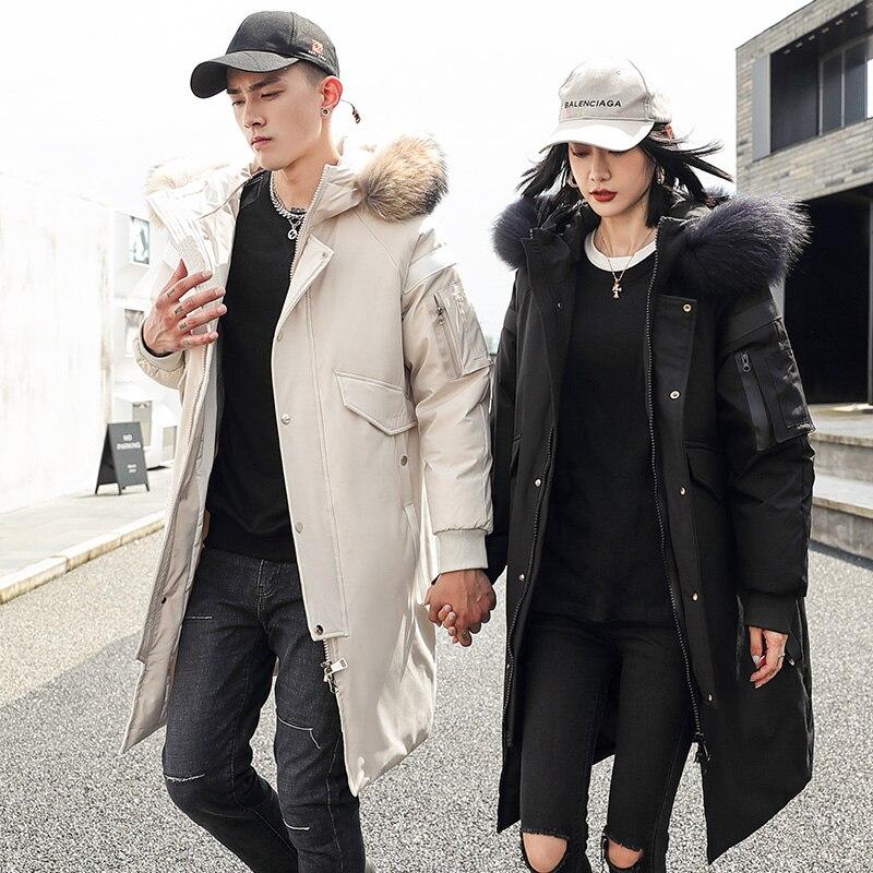 Мужская длинная парка на утином пуху, белая длинная куртка с меховым воротником, утепленная куртка для зимы, 2021