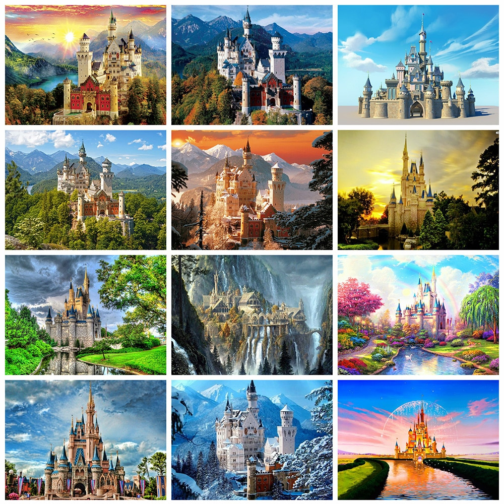 Cuadro de diamantes Evershine, bordado de castillo, punto de cruz, mosaico, paisaje 5D DIY, cuadros completos de diamantes de imitación, decoración del hogar