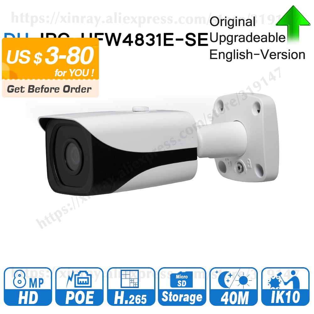 Dahua IPC-HFW4831E-SE Original 8MP WDR IR IP bala Cámara 4K 40M IR ranura para tarjeta Micro SD H.265 IP67 POE DH-IPC-HFW4831E-SE