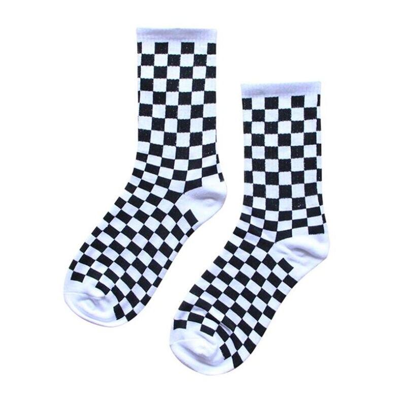 Homens meias de algodão de hip hop unissex streetwear novidade coreano harajuku tendência feminina xadrez meias geométricas