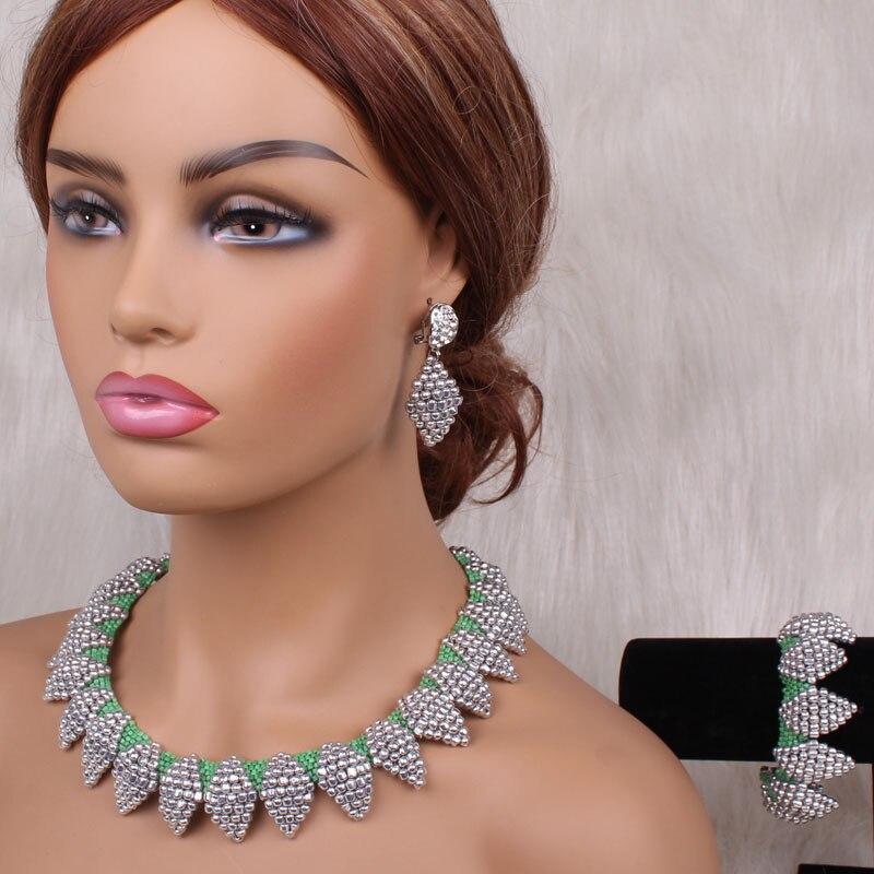 4uJewelry, conjunto de joyas verdes y plateadas, cristales de Dubai, conjuntos de collares para mujeres, Gargantilla de flores hecha a mano, conjunto de joyería de novia africana