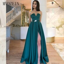 Charming Green Evening Dresses Long Satin A-Line High Split Crystal Belt Floor Length Formal Party Gowns Evening Dress