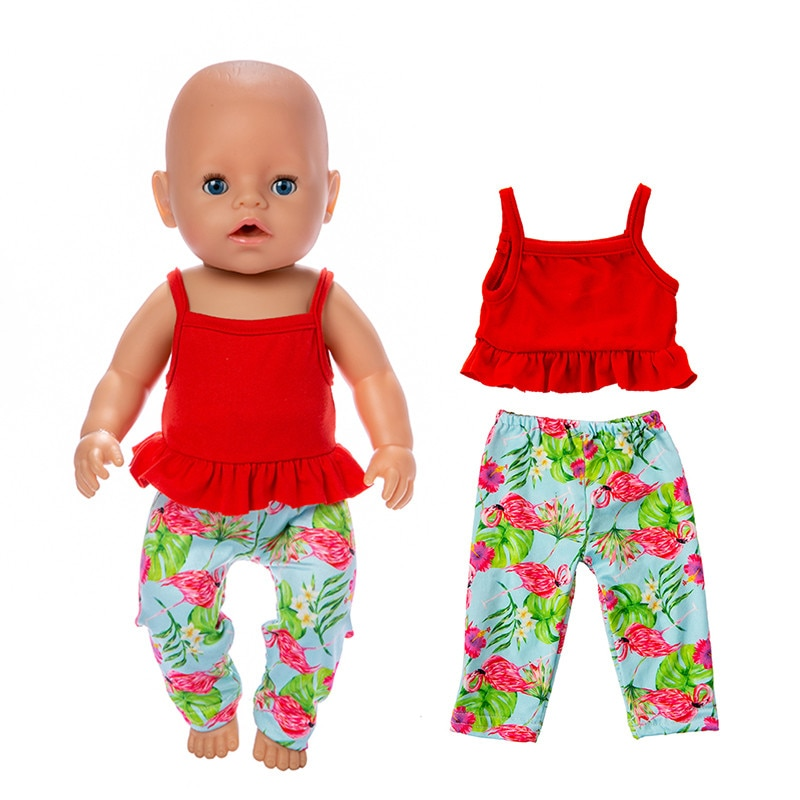 Baby New Born Doll Clothes Accessories Fit 17 inch 43cm 2-piece Red Flamingo Suit For Baby Birthday Gift недорого