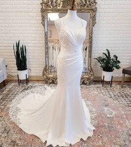 Satin Wedding Dress Vintage Civil 2021 Sweep Trainm Mermaid Lace Appliques Sleeveless Robe De Mariee Sweetheart Elegnat Simple