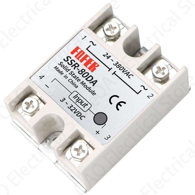 Solid State Relay SSR-80DA 80A 3-32VDC/24-380VAC недорого