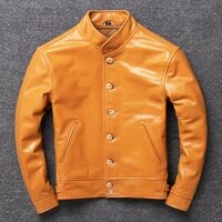 cowhide leather clothes mens pure leather jacket leak picking welfare three color options