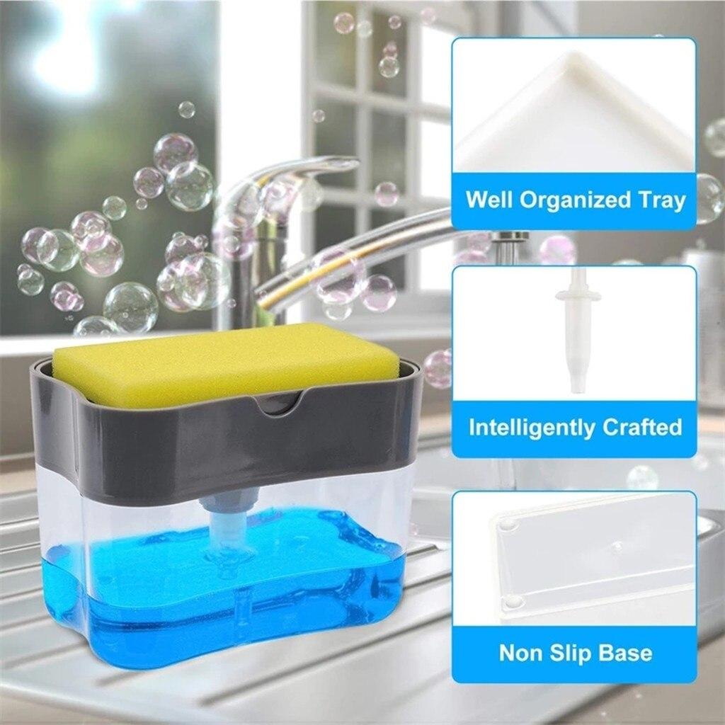 2-en 1sponge Rack dispensador de jabón y esponja Caddy baño jabón organizador de platos Limpieza de cocina herramientas de limpieza