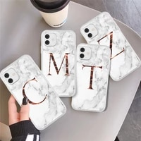 matte marble phone case for iphone 11 pro max 7 8 plus 12 pro xs max x xr xs max 12 mini initial letter a z crown soft coque