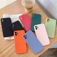 square case for iphone 11 pro max x xs max xr 7 8 6 6s plus candy color soft tpu silicone plain solid color back cover matte