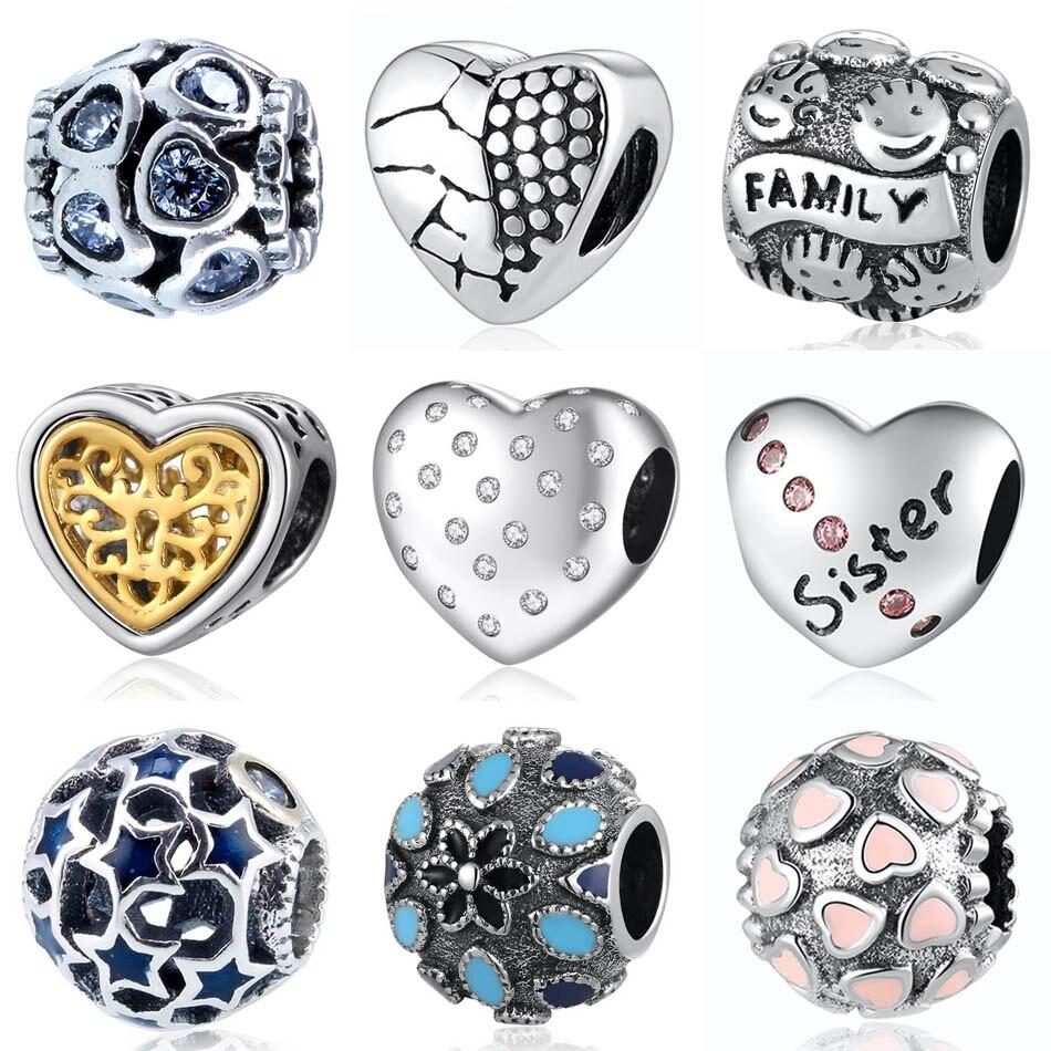 Authentieke S925 Bead Fit Lady Armband Familie Zus Lock Hart Maan Sterren Rose Overvloed Liefde Charm Diy Sieraden