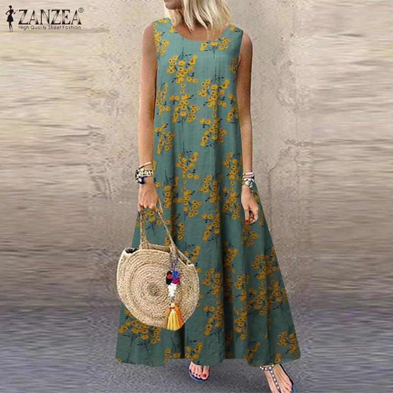ZANZEA mujeres Flora Vestido estampado verano Bohemian Sundress Casual sin mangas Vestido de fiesta Femme Robe Long Beach vestidos holgados