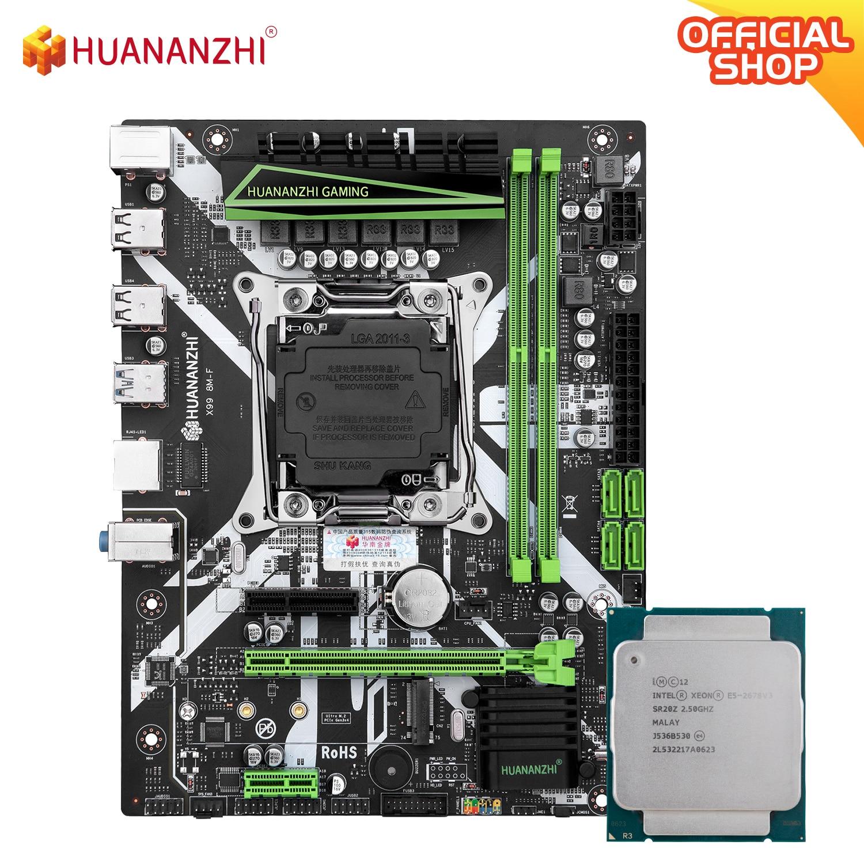 HUANANZHI X99 8 متر F X99 اللوحة مع إنتل سيون E5 2678 V3 كومبو مجموعة عدة دعم DDR4 RECC NON-ECC الذاكرة NVME USB