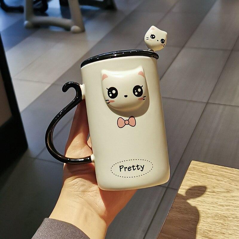 لطيف الكرتون شقي القط السيراميك القدح فنجان القهوة مع ملعقة بغطاء مكتب المنزل الإفطار كوب زوجين كوب ماء هدية للأصدقاء