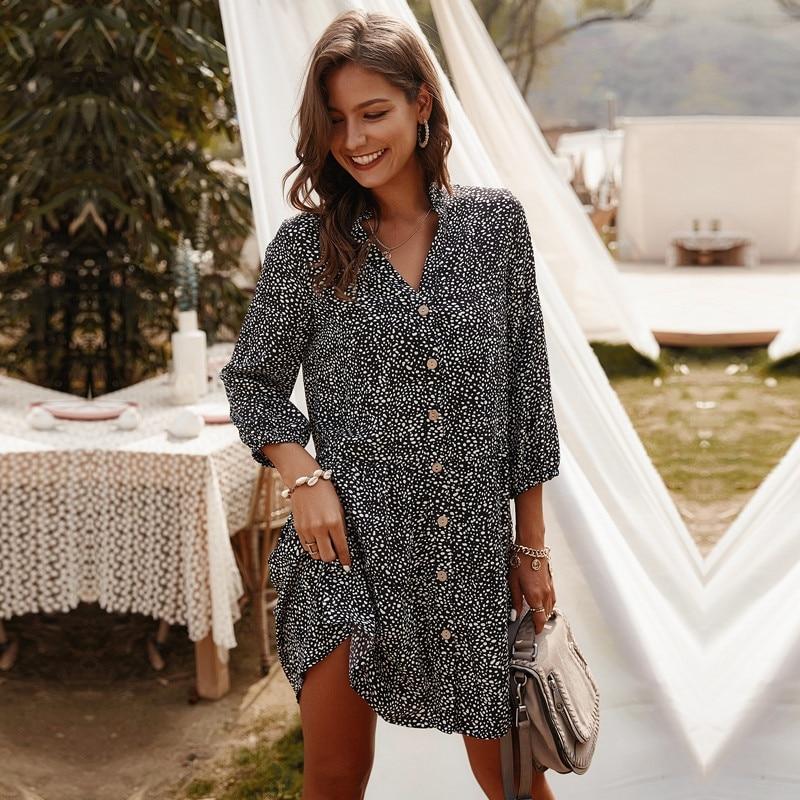 2021 New Casual Summer Dress Women Single Breasted Dot Print Above Knee Mini V-neck Three Quarter Sleeve Dress