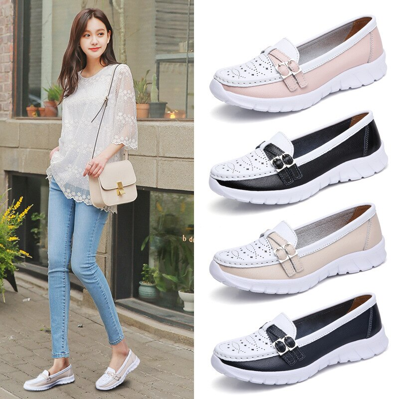 New Autumn Women Flats Leather Shoes Slip on Ballet Flats Ballerines Flats Woman Flat Loafers Walking Shoes