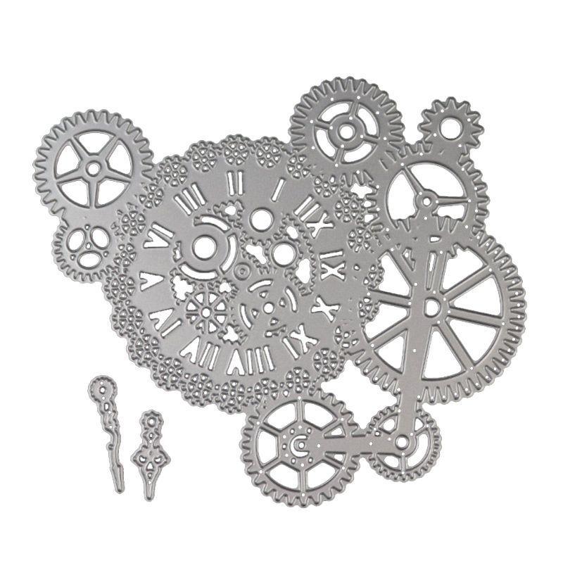 AZSG, troqueles de corte de engranaje de relojes para bricolaje, Scrapbooking decorativo, fabricación de tarjetas, troquelador, decoración divertida para manualidades, 15*16,8 cm