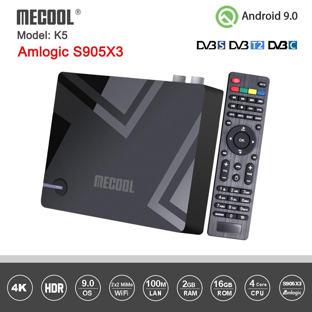 Mecool k5 android caixa dvb s2 dvb t2 amlogic s905x3 android 9.0 quad core 2gb 16gb dvb t2 s2 4k duplo wifi pvr gravação caixa de tv