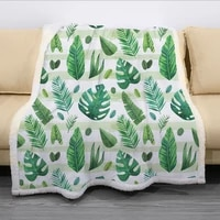 hot sale rain forest big leaf 3d printed fleece blanket for beds thick quilt fashion bedspread sherpa throw blanket adults kids