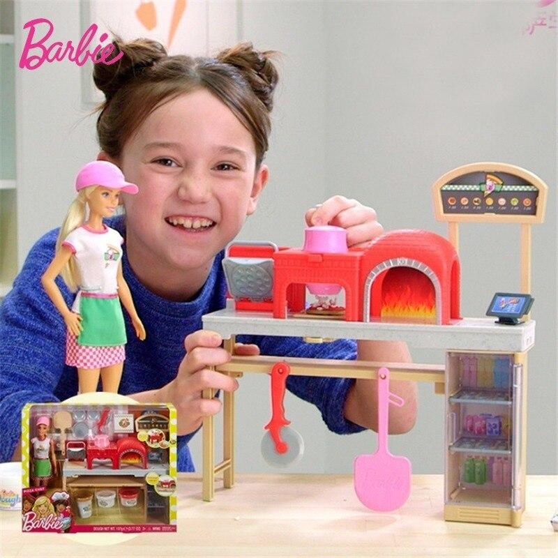 Mattel-juguetes de Barbie para niñas, juguetes para jugar a cocinar, Pizza, universidad,...