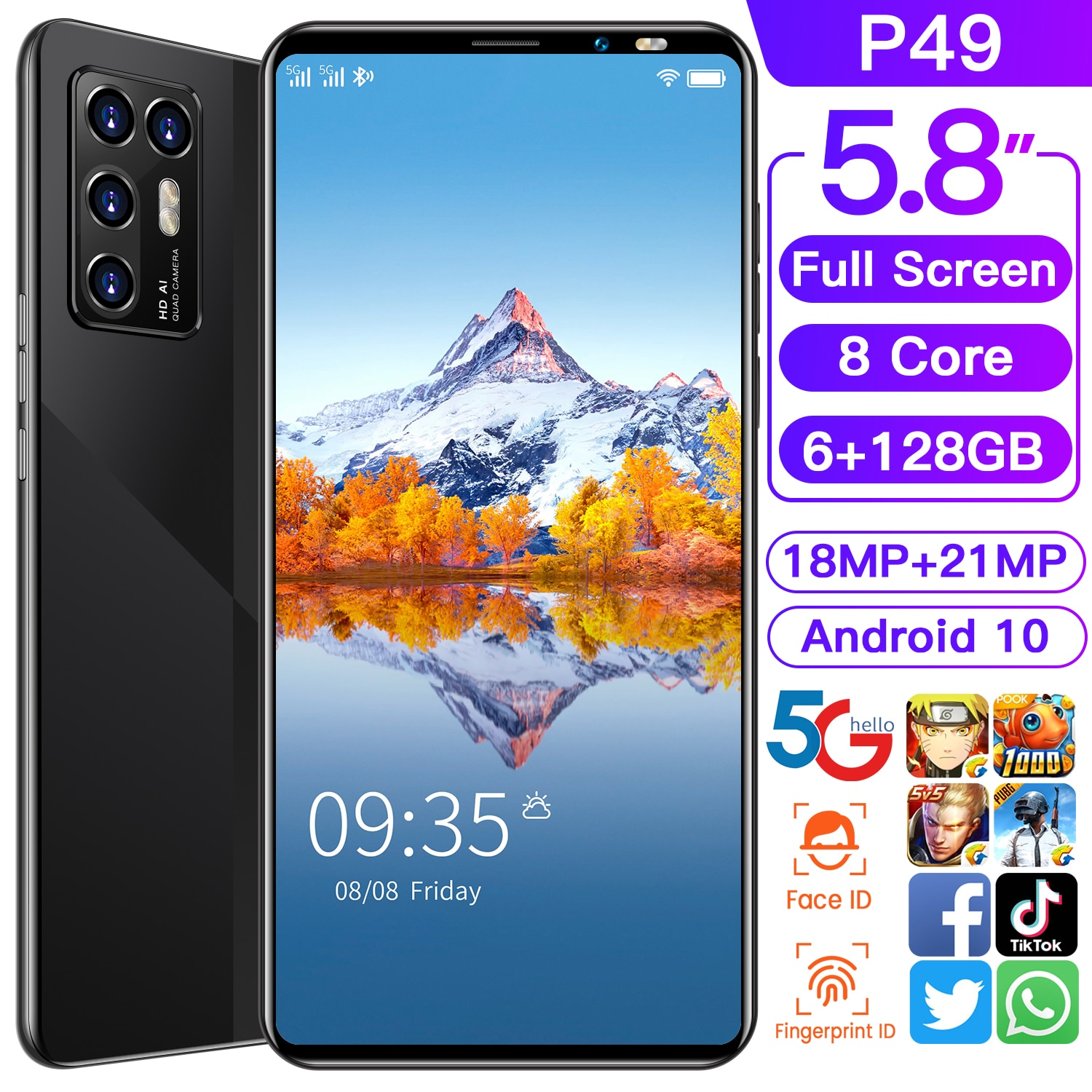 Global Version Galxy P49 Andriod 10 5.8 Inch HD 8Core Smartphone ROM 6GB RAM 128GB Dual SIM Face Fin